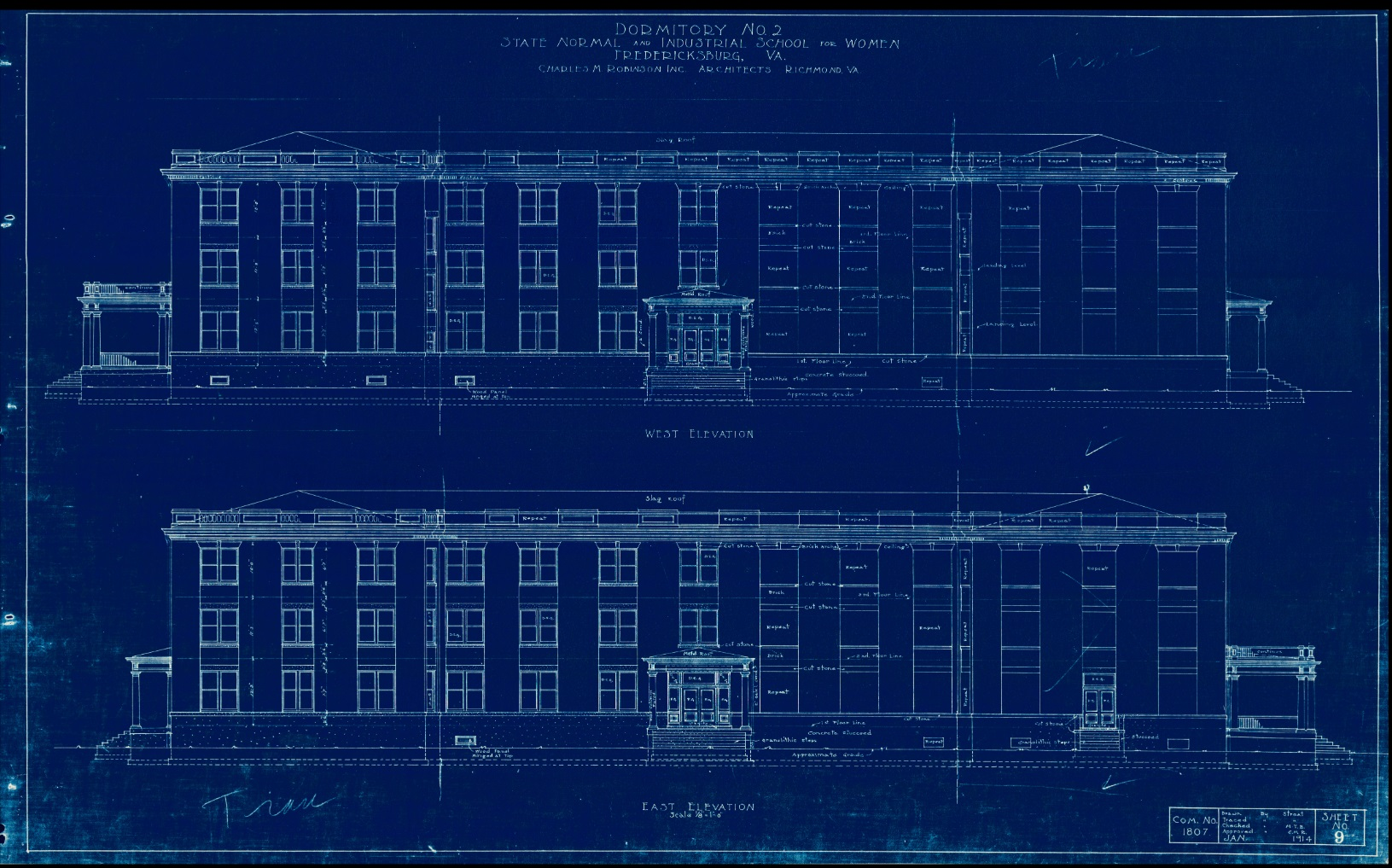 Blueprint of the east and west elevations of Virginia Hall.